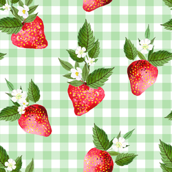 Large Strawberries in Leafy Green Gingham