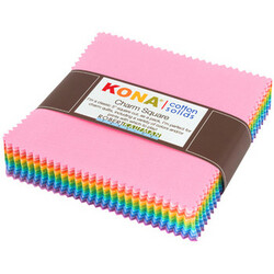Kona Cotton Solids Charm Squares in Pastel Colorway