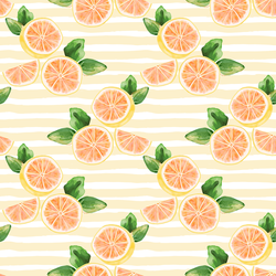 Citrus Slices in Lemon Chiffon Stripe