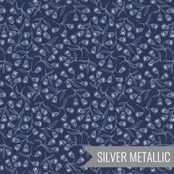 Enchanted Flowers in Dark Blue Metallic