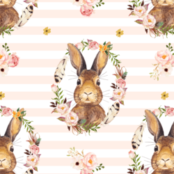 Bunny Love on Stripes in Pale Peach