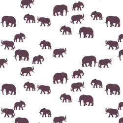 Elephant Silhouette in Raisin on White