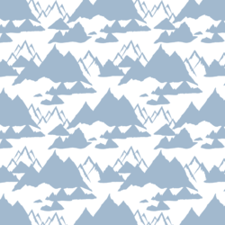 Snowy Mountains in Winter Blue
