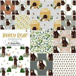 Honey Bear Prints Fat Quarter Bundle in Woodland Fog