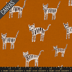 Tiger Stripes Canvas in Saddle Unbleached