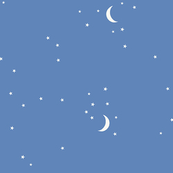 Moon and Stars in Blue