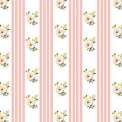 Little Floral Stripes in Pink Peach
