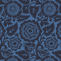 Blockprint Blossom in Navy on Hyacinth Blue