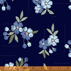 Floral Stitches in Navy