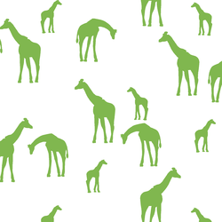 Giraffe Silhouette in Greenery on White
