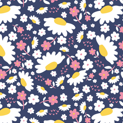 Daisies in Rose and Navy