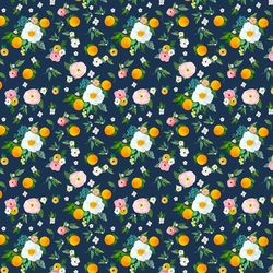 Small Orange Blossoms in Navy