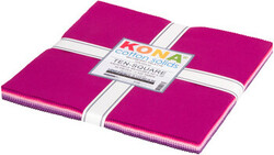 """Kona Solid 10"""" Square Pack in Wildberry"""
