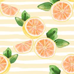Large Citrus Slices in Lemon Chiffon Stripe