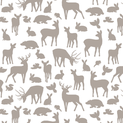 Forest Friends in Taupe on White