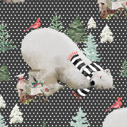 Napping Bear in White Winter Dots on Onyx