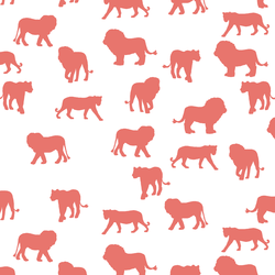 Lion Silhouette in Living Coral on White