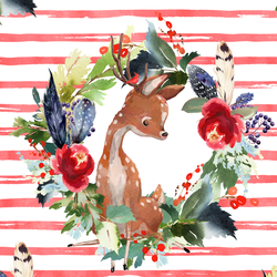 Boho Winter Deer in Peppermint Stripe