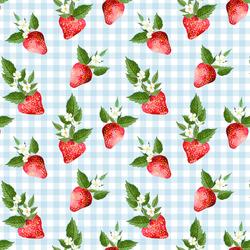 Strawberries in Summer Sky Gingham