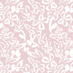 Painted Floral in White on Cameo Pink