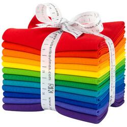 Kona Solid Fat Quarter Bundle in Bright Rainbow