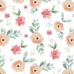 Perennial Florals in Brushed Rose