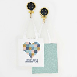 Patchwork Heart Tote Panel in Aspen