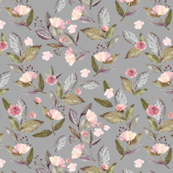 Tossed Floral in Grey