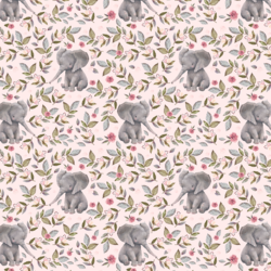 Little Floral Baby Elephant in Soft Blush