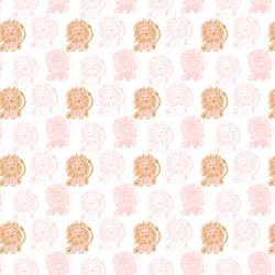 Block Print Lions in Powder Pink