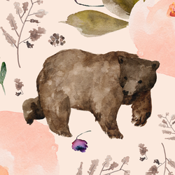 Large Floral Bear in Soft Peach