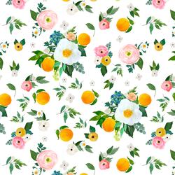 Large Orange Blossoms in White