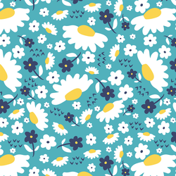 Daisies in Navy and Aqua
