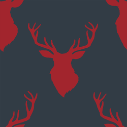 Deer Silhouette in Berry Red on Inkwell