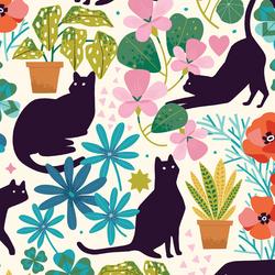 Large Feline Florals in Garden