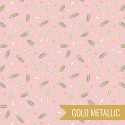 Feathers and Stars in Pink Metallic