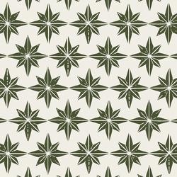 Large Stars in Mistletoe Green on Cream