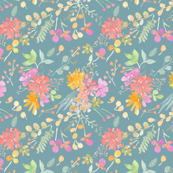 Small Fall Floral in Celeste