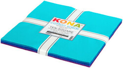 """Kona Solid 10"""" Square Pack in Peacock"""