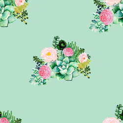 Floral Succulents in Mint Kiss