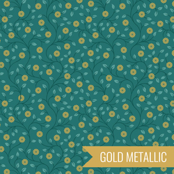 Flowers in Green Metallic