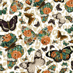 Autumn Butterfly in Soft Taupe on White Leopard