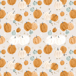 Small Pumpkins and Stars in Soft Gray