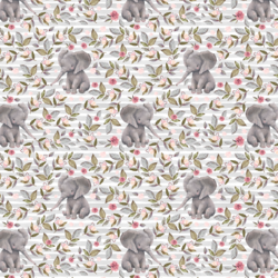 Little Floral Baby Elephant on Stripes in Grey
