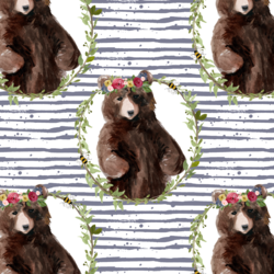 Floral Honey Bear Wreath in Lilac Bush Stripes