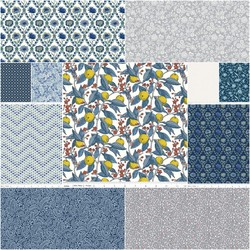 The Summer House Collection Fat Quarter Bundle in Navy