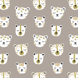 Jungle Cats in Taupe