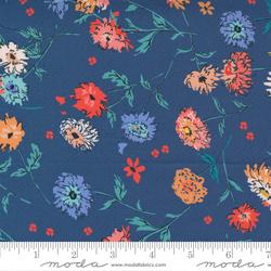 Full Bloom Floral Tossed Flowers in Dark Blue