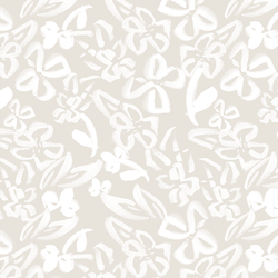 Painted Floral in White on Cream