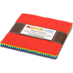 """Kona Solid 5"""" Square Pack in 2019 New Colors"""